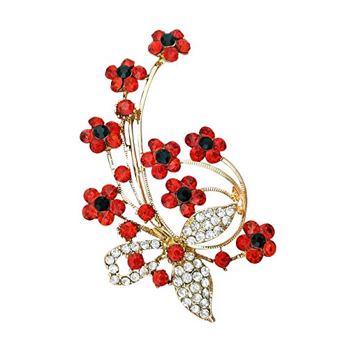 QUKE Gold Tone Flower Pattern Cubic Zirconia Crystal Rhinestone Pin Brooch Party Jewellery