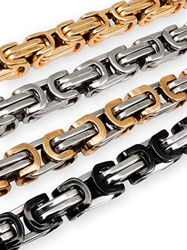 Fly Style 9 mm Königskette oder Armband aus Edelstahl in 4 Farben | 19-100 cm, Farbwahl:Silber/Gold, Längen:60 cm