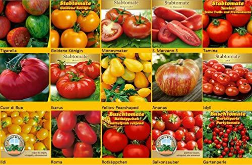 Tomatensamen Set 15 Sorten, San Marzano, Moneymaker, Tomaten Samen Cour di Bue