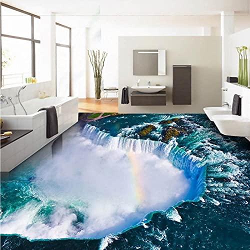 Blue Ocean Falls Sala De Estar Baño 3D Piso Autoadhesivo Antideslizante Dormitorio Estudio Cocina Piso Wallpaper-350X245Cm Piso Autoadhesivo Personalizado Papel Tapiz Mural 3D Pegatinas Para Baldosa