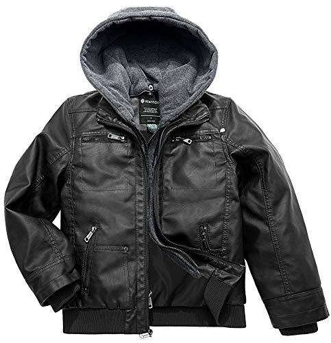 Wantdo Jungen Front Reißverschluss Mantel Abnehmbare Kapuze Jacke mit Weichem Futter Outdoor Fahrrad Jacke Schwarz 152-158