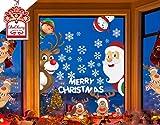 CheChury Natale Vetrofanie Addobbi Natale Adesivi Rimovibile Adesivi Murali Fai da Te Finestra Sticke Natale Vetrofanie Display Rimovibile Adesivi Atmosfera Natalizia Alci di Babbo Natale
