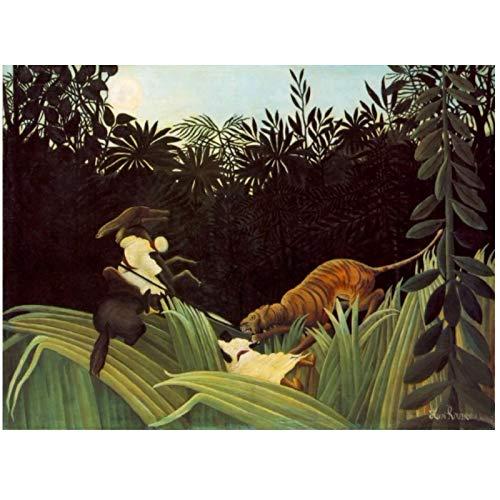 MGSHN Scout attaqué par Un Tigre (1904) par Henri Rousseau Peinture Reproductions Affiche Peinture Toile Mur Art pour la décoration de la Chambre -24 x 32 Pouces sans Cadre
