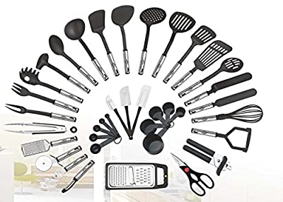 38-piece Kitchen Utensils Set Home Cooking Tools Gadgets Turners Tongs Spatulas Pizza Cutter Whisk Bottle Opener, Graters Peeler, Can Opener, Measuring Cups Spoons (Black) by Preferred Housewares International