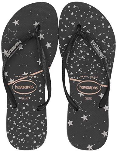 Havaianas Women's Slim Logo Metallic Flip Flop Sandal, Black/Silver, 9/10 M US