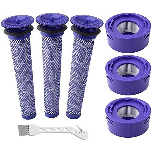 Accesorios de aspiradora Kit de reemplazo de filtro de vacío de 7 paquetes Ajuste para Dyson V6, V8, V7 aspiradora, filtro de columna 3 HEPA, 3 prefiltros, 1 cepillo de limpieza, ( Color : Lavender )
