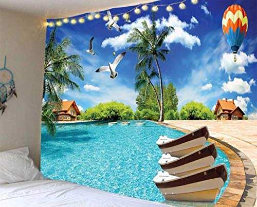 Hermoso tapiz de impresión de cascada de la cueva de la playa paisaje de la pared tapices hippie tela de poliéster decoración del hogar alfombra manta