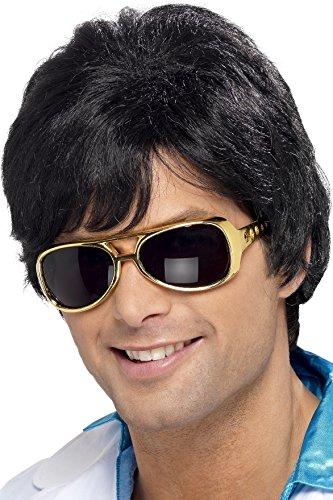 Smiffys Men's Short Black Wig with Side Bangs, One Size, 70's Shag Wig, 5020570420201