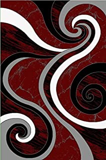 Contemporary Carved Modern Geometric with Swirl Design Area Rug Legacy Collection (2' x 3', Burgundy/Black)