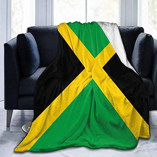 Manta de franela con bandera de Jamaica, manta de forro polar para sofá, sala de estar, dormitorio, mujeres y hombres de 80 x 60 pulgadas
