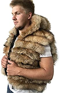 Bomber Men coat vest jacket Hood natural fur fox