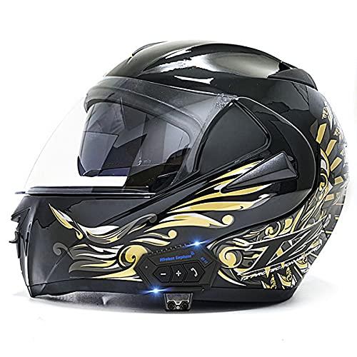 YALIXING Bluetooth Integrado Casco de Moto Modular con Doble Visera Cascos de Motocross con Adultos Unisex para Respuesta Automática Dot/ECE Homologado(Size:S (55-56CM),Color:Dorado Claro)