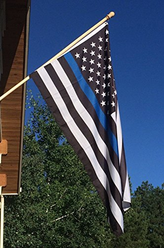 Newever Thin Blue Line Flag 3x5 ft - 210D Nylon, Embroidered Stars and Sewn Stripes with 2 Brass Grommets For Outdoor Events and Indoor Display