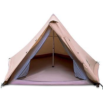 GeerTop ワンポールテント 多機能 4-6人用 TC素材 防水PU2000+ 専用グランドシート&ポール付き 組立簡単 完全なセットファミリー キャンプ 公園 海 登山(茶色)
