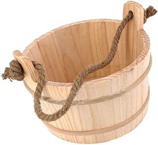 Fityle 7L Sauna Bucket, Wooden Sauna Accessories Natural White Pine Water Bucket Spa Shower Supplies Bathroom Accessories