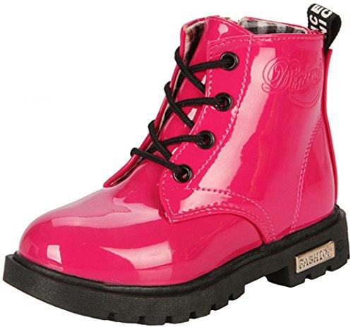 PPXID Stiefel Baby Jungen Mädchen Schnürstiefeletten wasserdichte Ankle Boots Frühling Herbst Winterschuhe, 21 EU, Rosa
