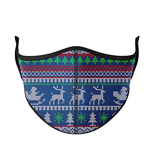 Top Trenz Face Wrap Cloth Reusable Fashion Mask Medium (Ages 8+ to Adult) (Christmas Sweater)