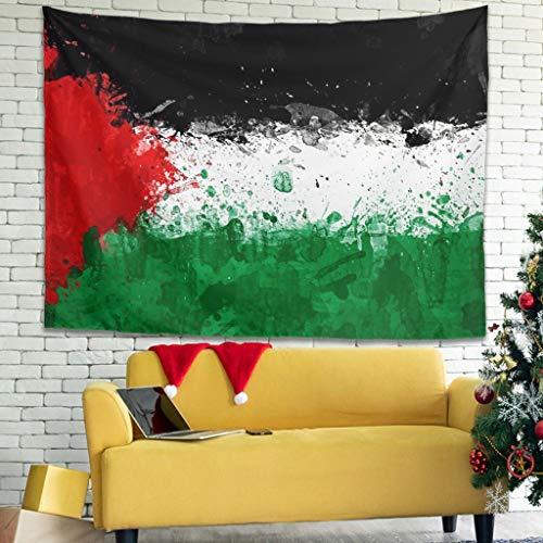Tapiz bohemio abstracto con la bandera de Palestina, tradicional, tapiz, para la pared, para la playa, 100 x 150 cm, color blanco