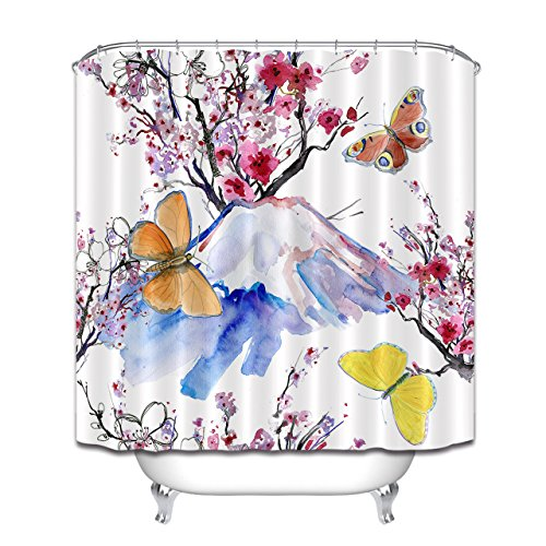 LB Duschvorhang im japanischen Stil,Berg Fuji Cherry Blossom & Schmetterlinge Anti-Schimmel wasserdichtes ges&es Polyester-Gewebe-Badezimmer-Duschvorhang-Satz,180x180cm