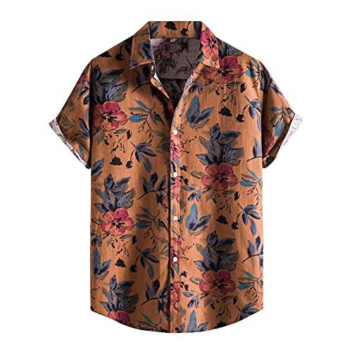 Camisa hawaiana para hombre, de verano, informal, con flores, manga corta, corte ajustado. B_marrón. XL