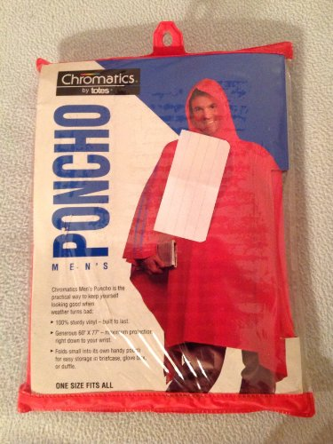 Chromatics by Totes Men's Red Vinyl Poncho, One Size