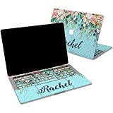 Lex Altern Vinyl Skin for MacBook Air 13 inch Mac Pro 16 15 Retina 12 11 2020 2019 2018 2017 Rose Floral Lush Flowers Leaves Blue Monogram Name Touch Bar Laptop Cover Keyboard Decal Sticker Wrap
