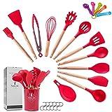 ZCOINS 18+1 juego de utensilios de cocina de silicona con asas de madera y soporte, utensilios de cocina, set de herramientas de cocina, regalo rosa (rojo)