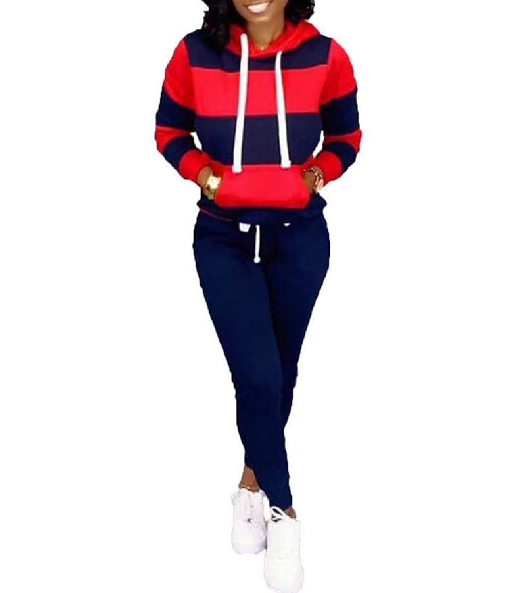 情熱平均確かめるKankanluck Womens Casual Workout 2 Piece Striped Sport Sweat Suit Set with Hood
