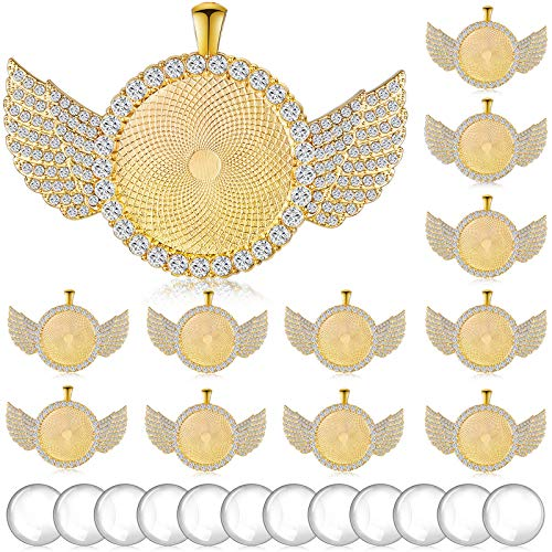 24 Pieces Wing Hip Hop Pendant Trays Set, Include 12 Pieces Round Bezel Trays Cabochon Pendant Setting with 12 Pieces Clear Glass Cabochons for Photo Pendant DIY Jewelry Craft Making (Gold)