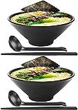 Tazones japoneses para ramen, 2 juegos de 42 onzas de melamina, vajilla de plástico duro, tazón de sopa para fideos con palillos y cucharas a juego Tazón grande para tazones de fideos, udon, soba, ph