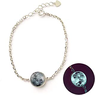 Lucky Unique Glow in The Dark White Full Moon Silver Bracelet for Women Dainty Handmade in Korea l Chain Pendant Style l Jewelry Gift Friendship Luminous Radiant Crescent Phase