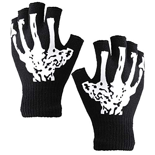 Cooraby Halloween Skeleton Gloves Glow in The Dark Knitted Mechanic Gloves