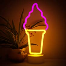 Ice Cream Shape Neon Sign, LED Neon Light Art Decorative Lights Operated by Battery/USB with Holder Base for Baby Room Christmas Wedding Party Supplies