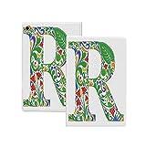 iPad Pro 12.9 2020 ケース 手紙R、花をテーマにした大文字R記号ライティングシステム多色アートデザインプリント装飾、多色 手紙R 極薄 軽量 オートスリープ機能 傷つけ防止 2020春発売のiPad Pro 12.9対応スマートカバー 多色