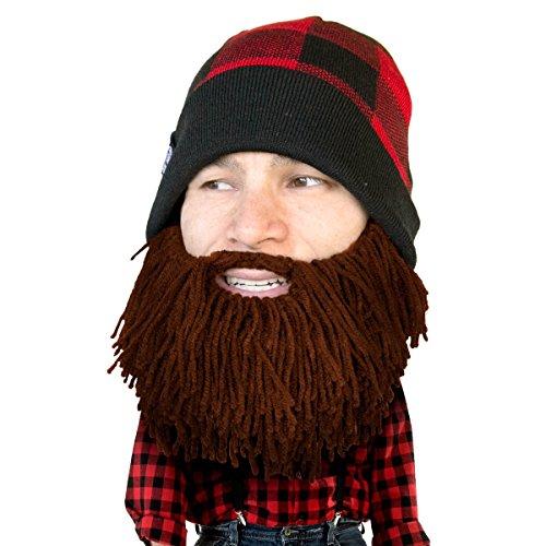 Beard Head Lumberjack Plaid Beanie - Original Handmade Knit Hat and Removable Brown Beard