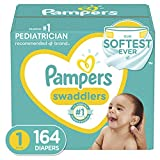 Diapers Newborn/Size 1 (8-14 lb), 164 Count - Pampers Swaddlers Disposable Baby Diapers, Enormous Pack (Packaging May Vary)