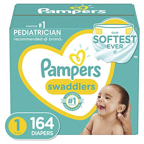 Diapers Newborn/Size 1 (8-14 lb), 164 Count - Pampers Swaddlers...