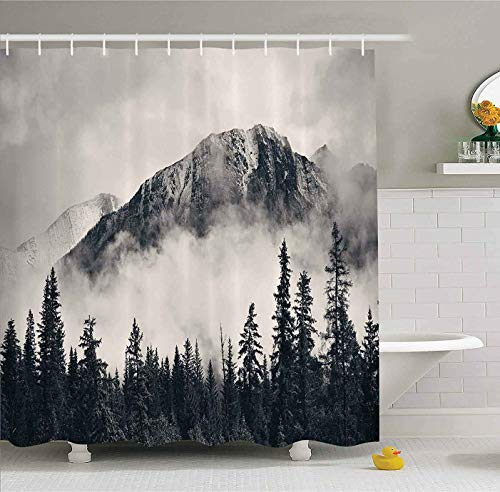 "Canadian Smoky Mountain Cliff Outdoor Idyllic Photo Art Shower Curtain No Liner, National Parks Home Decor Curtain, Waterproof Polyester Fabric Bathroom Shower Curtain with Hooks 72"" x 72"""