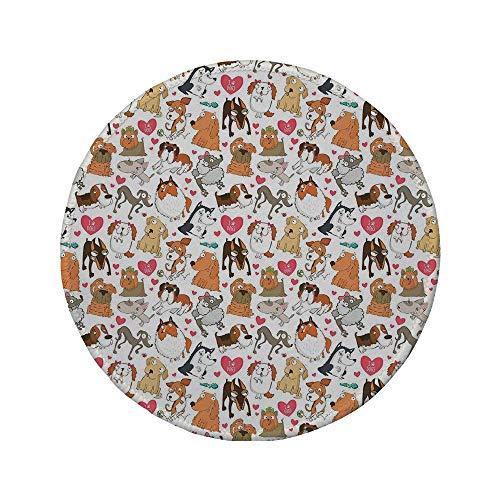 Rutschfreies Gummi-rundes Mauspad Hundeliebhaber Cartoon-Eckzähne Bullterrier Dobermann Husky Spaniel Liebesthema Lustige Charaktere Mehrfarbig 7.9