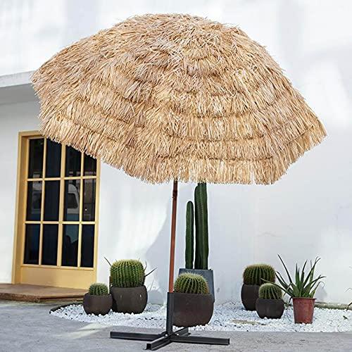 LIUD Hawaii Parasol De Paja Sombrilla Playa Proteccion UV Redonda Sombrillas Terraza Inclinación Sombrilla Jardin Φ180cm Sombrilla Playa Antiviento Impermeable para Piscina Backyard