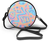 BAODANLA Bolso redondo mujer Coloful Dots Pattern Women Soft Leather Round Shoulder Bag Zipper Circle Purses Sling Bag