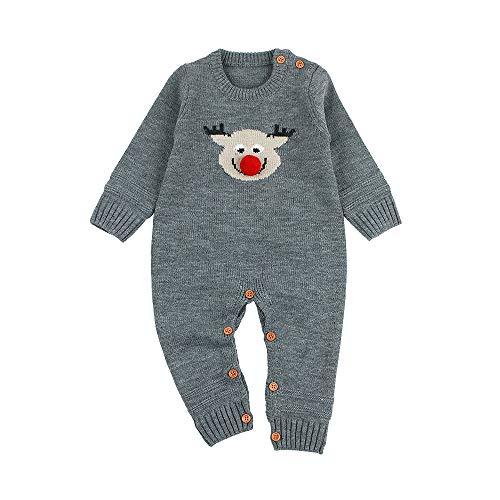 Luoluoluo Kerstmis babykleding voor 6-24 maanden baby jongens meisjes rompers Kerstman pasgeborenen body eland gebreid eendelig jongens lange mouwen jumpsuit meisjes
