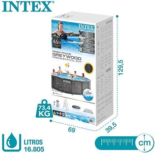 Intex 26742NP - Piscina desmontable INTEX, 457x122 cm, con depuradora cartucho, 3.785 litros/hora, filtro cartucho tipo A, piscina Greywood Prism Frame, 16.805 litros, piscina para 6 personas 9