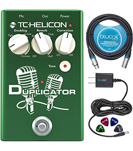 TC Helicon Duplicator Vocal Effects Stompbox Bundle with Blucoil Slim 9V 670ma Power Supply AC Adapter, 10-FT Balanced XLR Cable, and 4-Pack of Celluloid Guitar Picks
