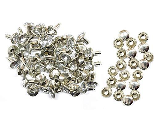 Bruiloft 50 x 8mm Zilver Acryl Strass Steentjes Diamante Rivet Studs - Mode Accessoire voor Lederen Ambachten Designer Kleding, Riemen, Tassen, Hond Collars, Schoen