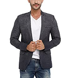 SHOWOFF Mens Cotton Full Sleeves Slim Fit Checked Navy Blue Blazers