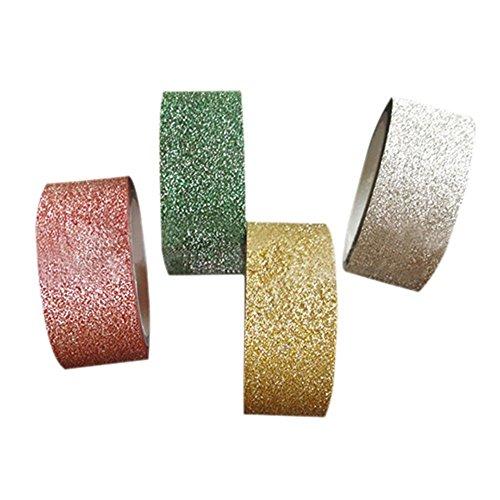 Missley, nastro adesivo coprente, per decorazioni fai da te, lunghezza 5 metri, 4 colori glitterati, motivo Washi