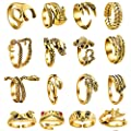 16 Pcs Vintage Frog/Dragon/ eagle Open Rings for Women Knuckle Stacking Ring Set Snake Punk Ring Boho Animal Gothic Hug Finger Rings Adjustable (Gold)
