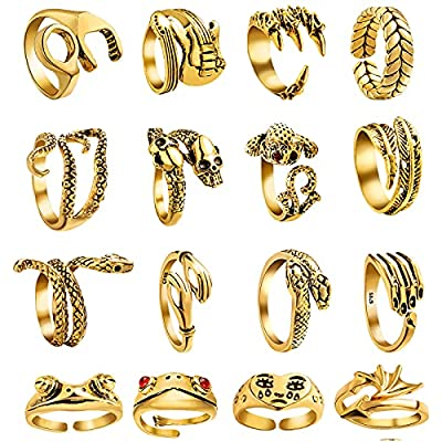 16 Pcs Vintage Frog/Dragon/ eagle Open Rings for Women Knuckle Stacking Ring Set Snake Punk Ring Boho Animal Gothic Hug Finger Rings Adjustable (Gold)