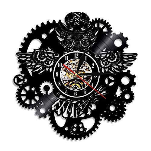 Eld 30cm Steampunk Vinyl Record Wall Clock Owl Steampunk Furniture Steampunk Owl Ornaments Decor Gothic Gears Wall Art Decor Gifts Music Art Record Wall Clocks